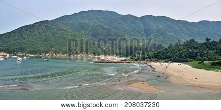 The picturesque beach in Sai Kung district  in Hong Kong.