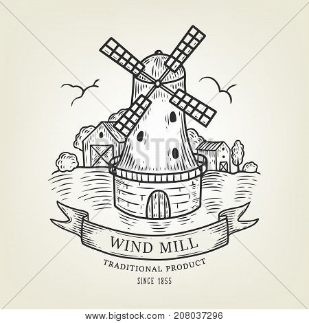 Vector countryside landscape with windmill and wheat field. Rural view done in graphic style, isolated on background. Outline field use as label, logo, sticker, emblem for bakery, organic products.