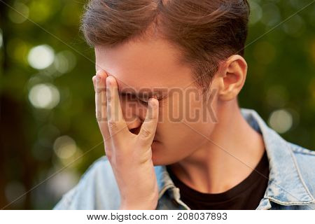 Men's stupid mistake. Regret guilt forget headache hangover concept poster