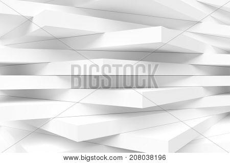 White Modern Interior Background. Abstract Building Blocks. Minimal Geometric Shapes Design. 3d Rendering