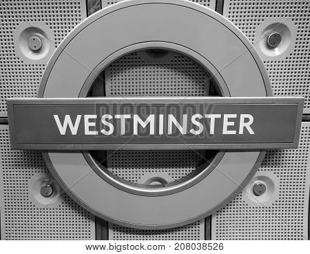 Westminster Tube Station Roundel In London Black And White