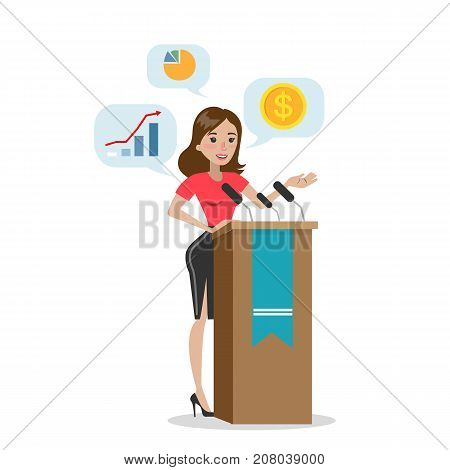 Isolated speaker woman with podium on white background. Talking about economics.