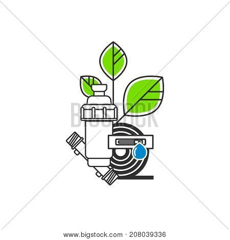 Irrigation Icon. Equipment for drip irrigation. A drip tape, a drip tube, a filter, a plant. Vector illustration.