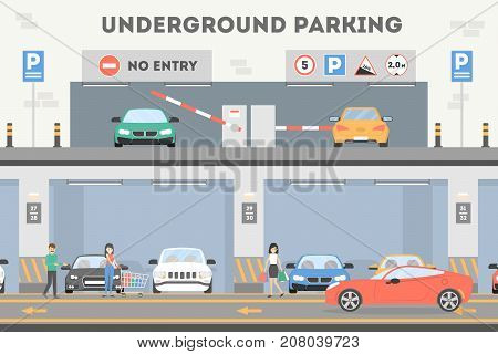 Underground parking lot. Place for cars and transport.