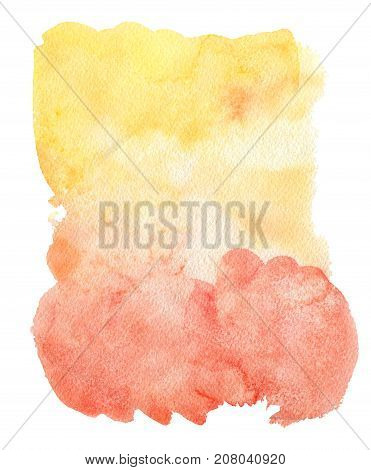 Yellow and orange watercolor spot isolated on a white background. Design element.