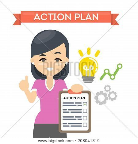 Woman with action plan on board with lightbulb and gears. Concept of time management and strategy.
