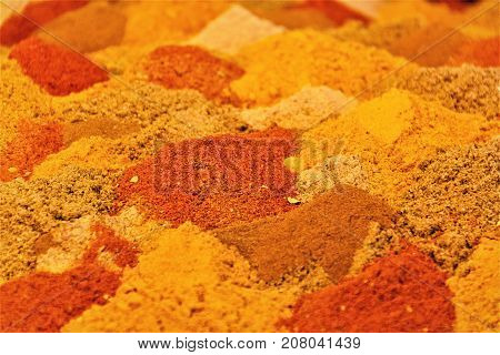 Spices in bazaar in Iran with Saffron