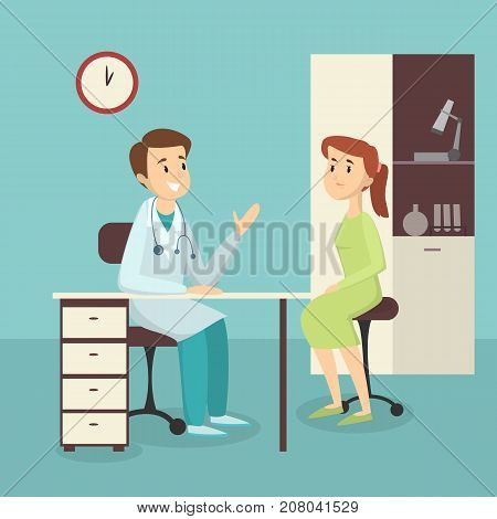 Medical admission illustration. Woman in the hospital ward with male doctor.