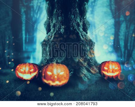 Spooky Tree With Pumpkins