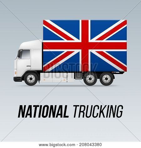 Symbol of National Delivery Truck with Flag of Great Britain. National Trucking Icon and British flag