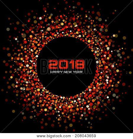 Vector  Happy New Year 2018 Card Background. Red Bright Disco Lights Halftone Circle Frame. Round border using red confetti circle dots texture.
