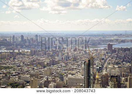 Aerial View Of New York City And Brooklyn From High Up In The Air