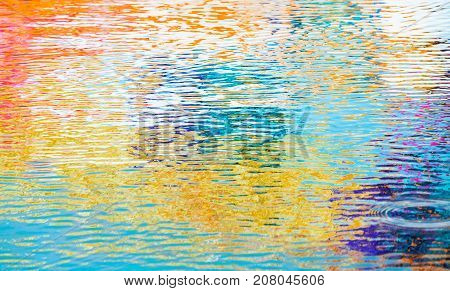 Rippled Water Surface Texture, Colorful Reflections