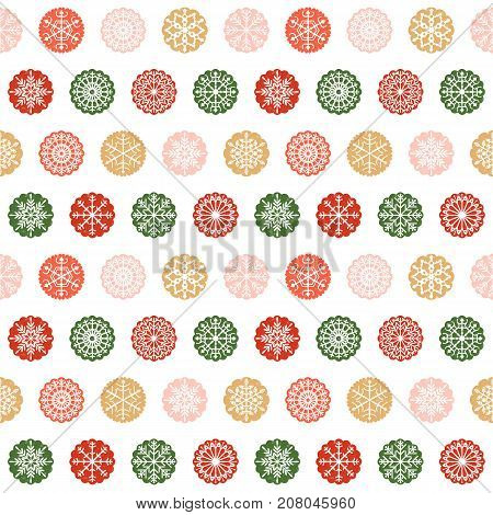 Modern luxury seamless pattern design with snowflake ornaments in round scalloped shapes in green red pink and gold colors