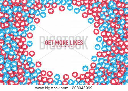 Vector 3D Social Network Blue and Red Like Icons Abstract Conceptual Illustration Isolated on White Background. Design Elements for Web, Internet, App, Marketing, SMM, CEO, Business, Analytics