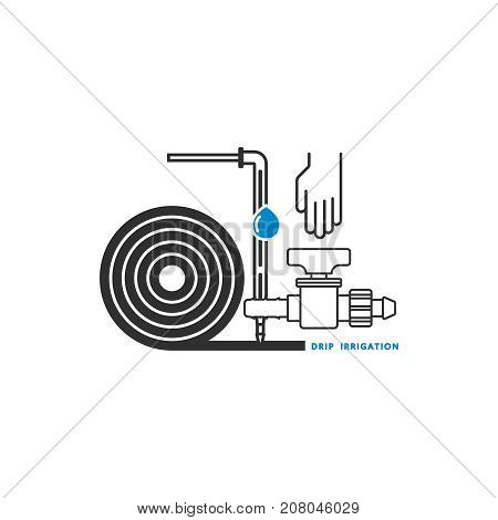 Irrigation Icon. Equipment for drip irrigation. Drip tube, dropper, starter tap, hand. Vector illustration.