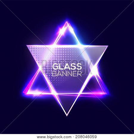 David star. Neon sign. Triangle background with textured transparent glass plate. Glowing electric abstract frame on dark backdrop with light, glow. Bright vector illustration with flares and sparkles