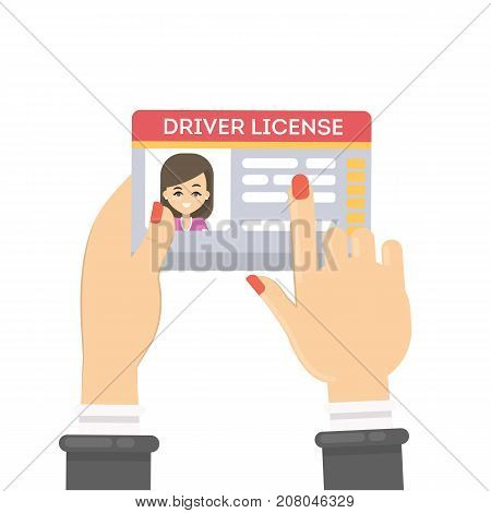 Woman's driver license. Female hands holding plastic id card.