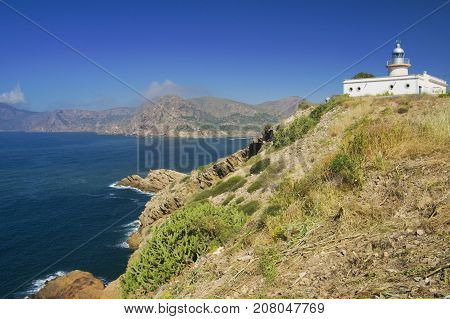 View on lighthouse Portman (Faro de Portman) from artillery battery Chapa in Murcia Spain