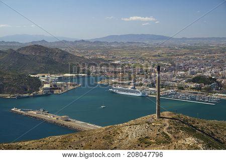 View on Mediterranean Sea from artillery battery Cenizas in Murcia Spain