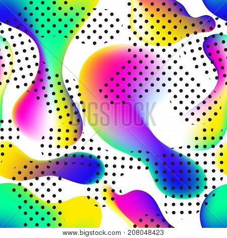 Fluid color seamless pattern modern bold camouflage cover. Colorful bubble shapes motion lamp vector composition. Trendy minimal design