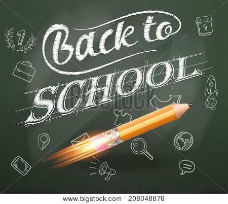 Smart education. Back to school with hand drawn education icons. Rocket ship launch with pencil - sketch on the blackboard, vector illustration