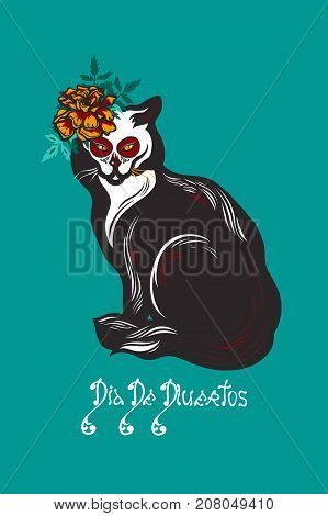 Cat with marigolds flowers. Mexican holiday Day of the Dead. Dia de Los Muertos card. Invitation poster. Halloween. Lettering