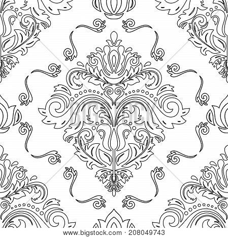Seamless classic pattern with black outlines. Traditional orient ornament. Classic vintage background