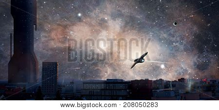 Sci-fi city with planet nebula and spaceships Elements furnished by NASA. 3D rendering
