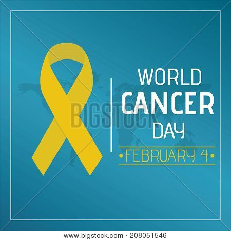World Cancer Day, 4 February. Yellow ribbon at world map conceptual illustration vector.