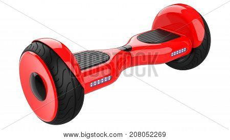 Red hover board,  dual wheel self balancing scooter. 3d rendering of rose self-balancing board, isolated on white background.
