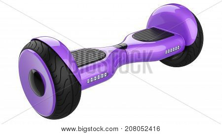 Close up of purple hover board dual wheel self balancing electric scooter. 3d rendering of violet self-balancing board, isolated on white background.