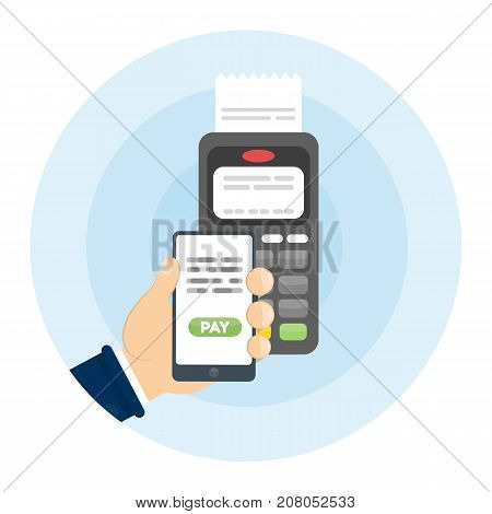 Payment with smartphone and nfc terminal. Mobile payment.