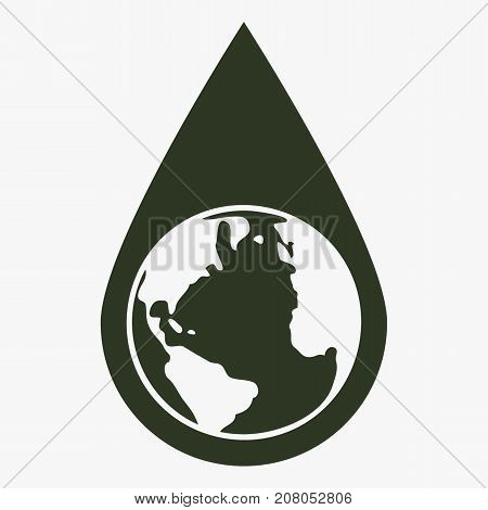 Earth water drop vector icon. Black icon on gray background.