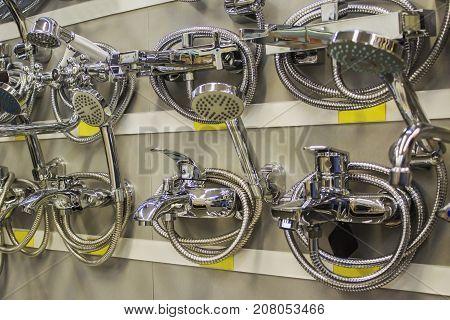 hardware store. selling faucet water. Plumbing Foto