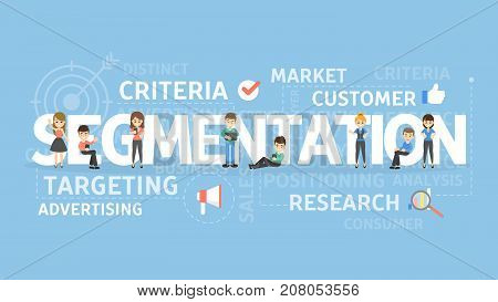 Segmentation concept illustration. Idea of criteria, research and advertising.