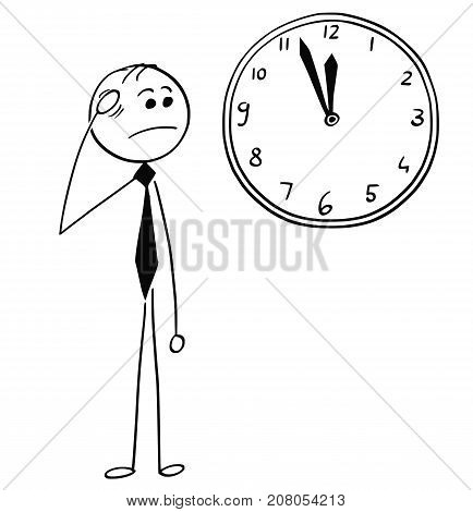 Worried Businessman Looking At Wall Clock