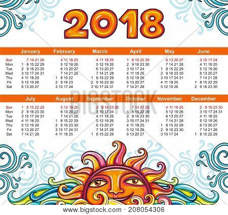Vector calendar 2018 year, Celestial style. Smiling decorative Sun and blue swirls on white background. Week starts from Sunday. Place for your text