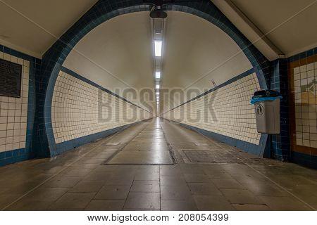 Sint-Anna Tunnel for pedestrians in Antwerpen, Belgium