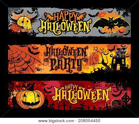 Halloween vector set of horizontal grunge banners. Flying skull, bats, haunted house, spider web, jack o lantern, pumpkin, spooky graveyard with crosses and tombstones. Happy Halloween party lettering
