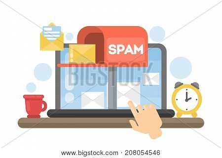 Spam concept illustration. Hacking or advertising emails on computer.