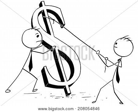 Two Businessmen Erecting Large Dollar Sign