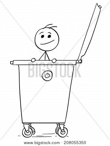 Smiling Man Poking Out Of The Dumpster Garbage Waste Container
