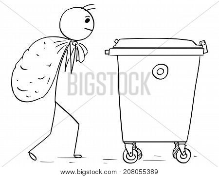 Man Carry Large Bag Of Waste To Throw It In Waste Container Dumpster