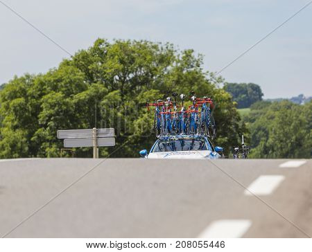 Mailleroncourt-Saint-Pancras France - July 5 2017: The technical car of Wanty-Groupe Gobert Team approaching on a road to La Planche des Belle Filles during the stage 5 of Tour de France 2017.