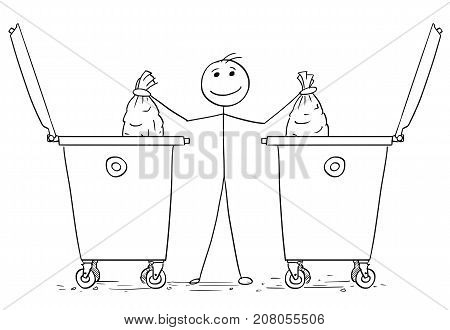 Smiling Man Throwing Two Plastic Bags In To Waste Containers Dumpsters