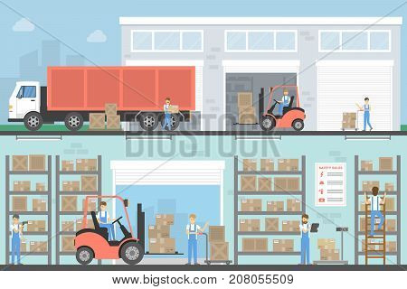 Warehouse building set. Interior and exterior with trucs and people.