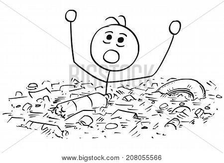 Man Drowning In Waste Garbage Dump