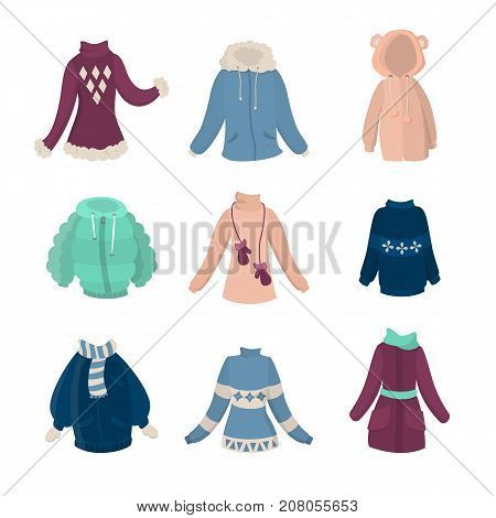 Winter clothes set. Females coats and sweaters on white background.