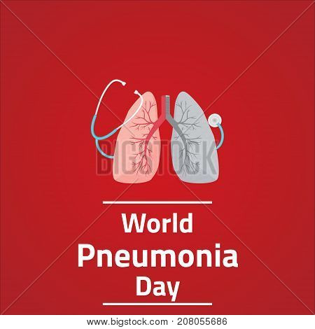 World Pneumonia Day, 12 November. Lungs and stethoscope conceptual illustration vector.